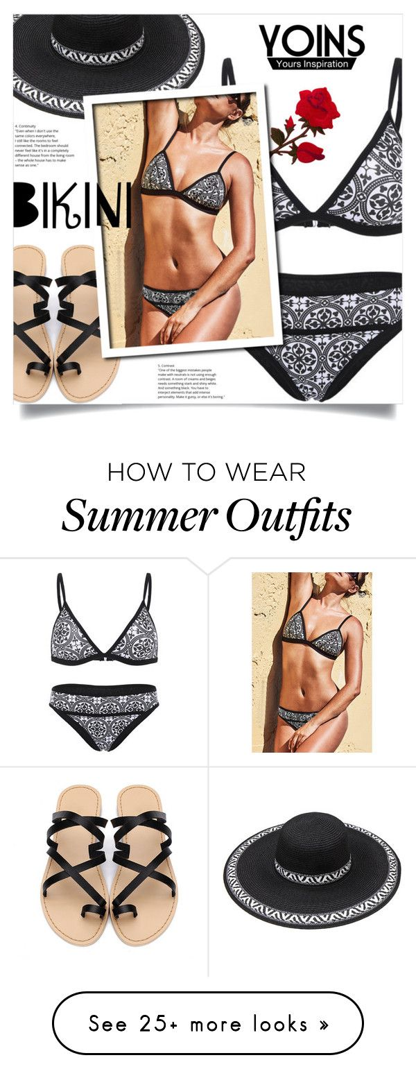 """""""Yoins: Black & White Floral Swimsuits"""" by loveyoins on Polyvore..."""