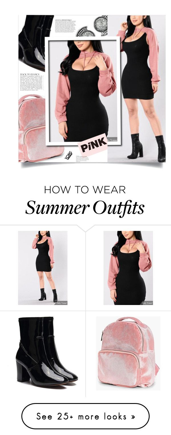 """""""Yoins: Sexy Pink Hoodie"""" by yoinscollection on Polyvore featuring Boo..."""