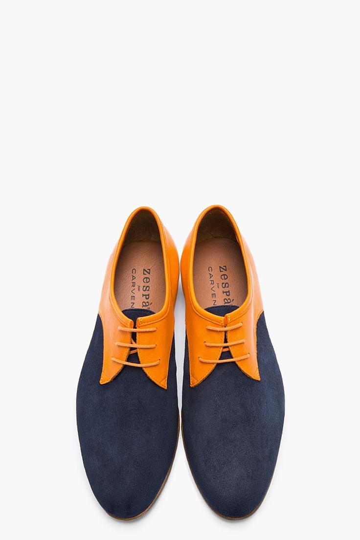 CARVEN Orange & Navy Two-Tone Leather Derbys...