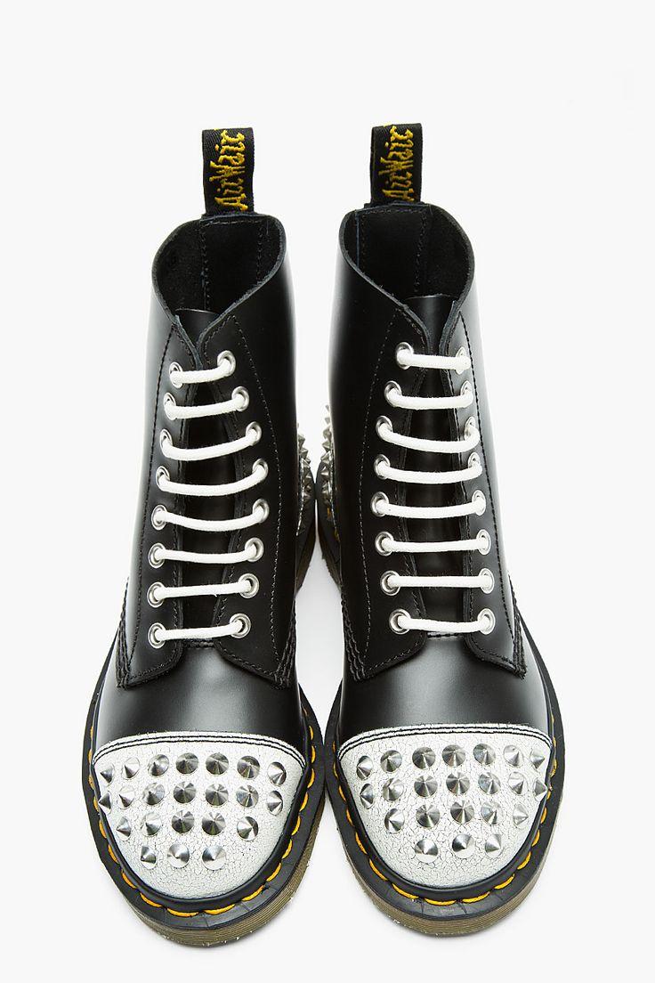 DR. MARTENS Black Leather Crackled Studded Core applique 1460 8-Eye Boots