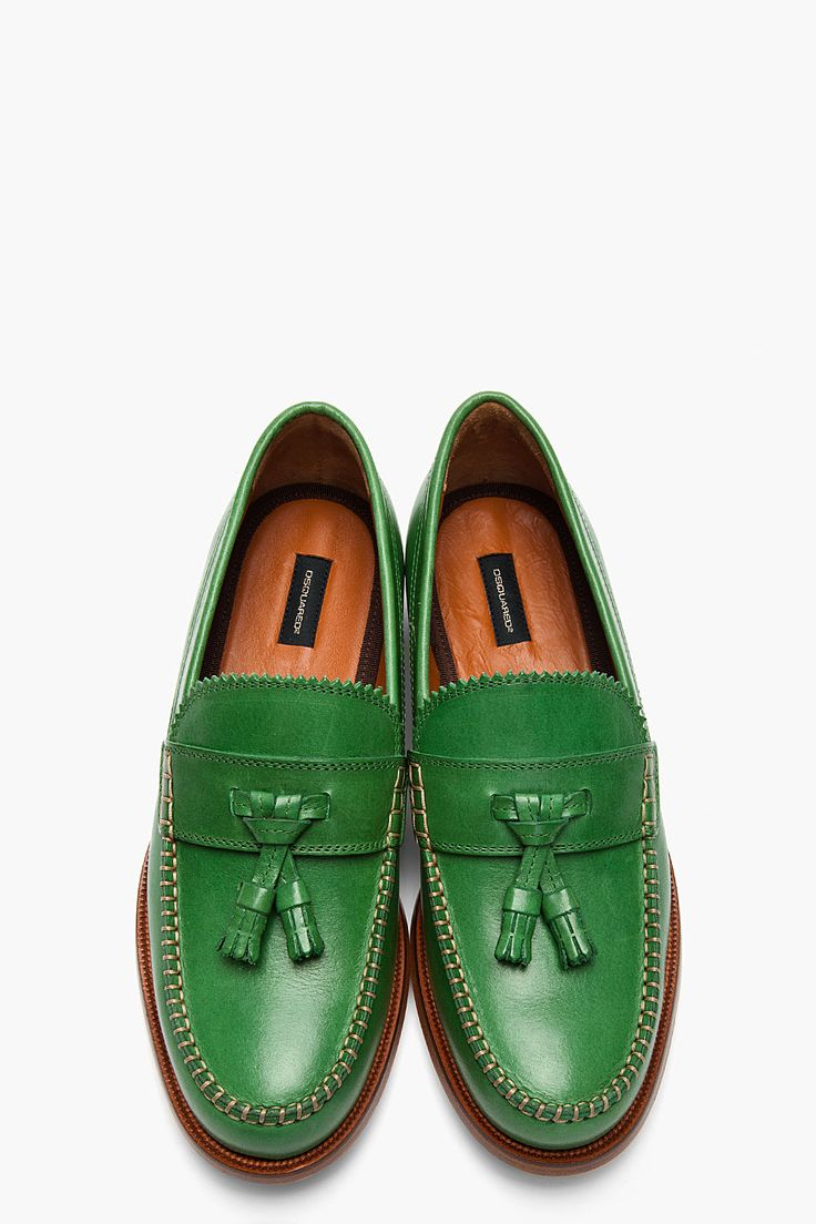 Dsquared² Green Green Leather Classic College Tassled Penny Loafers