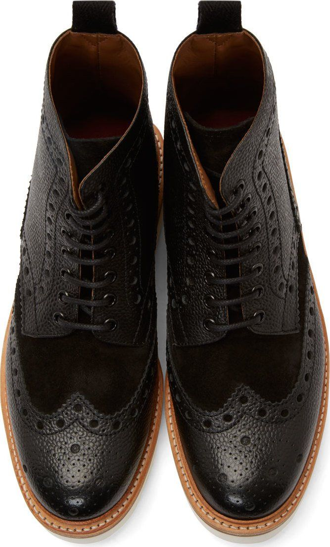Grenson Black Leather Shortwing Brogue Fred Boots...