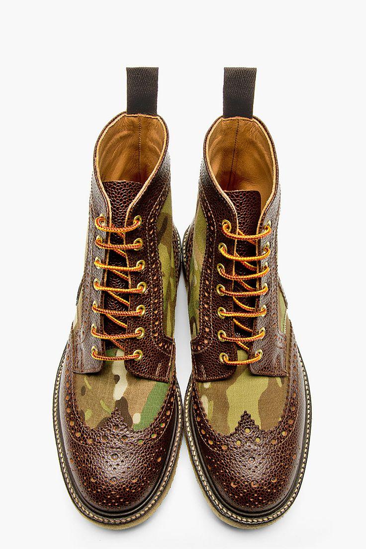 MARK MCNAIRY Khaki Camo Shortwing Boots...