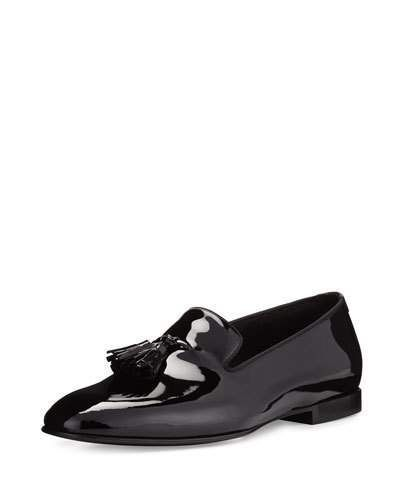 Neiman Marcus - TOM FORD Chesterfield Patent Leather Tassel-Front Loafer, Black