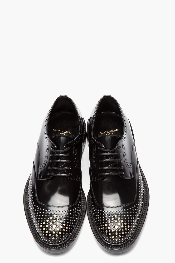 SAINT LAURENT //  Black and silver nail-perforated brogues  32418M049001  Low-to...