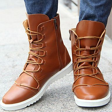 [USD $ 38.99] Men's Shoes Combat Boots Flat Heel Leather Boots Mid-Calf Boots Shoes More Colors available