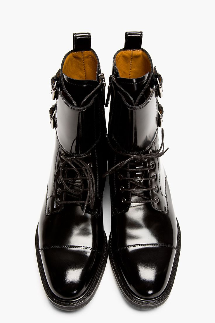 VALENTINO Black Patent Leather Buckled Stud Boots, shoes for men