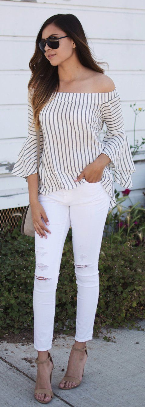 Ripped white jeans + Striped blouse. Fashion Details Street Style...