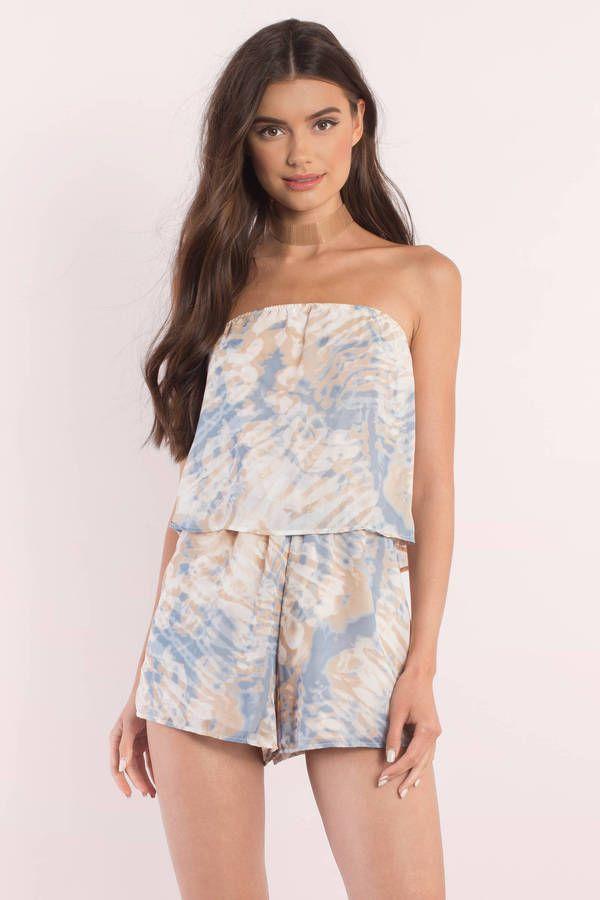 "d7aa4e2f622 Search ""Bri Blush Multi Camo Print Romper"" on Tobi.com! strapless tie dye  print romper playsuit tiered loose fit fitting flowy  ShopTobi  fashion   summer ..."