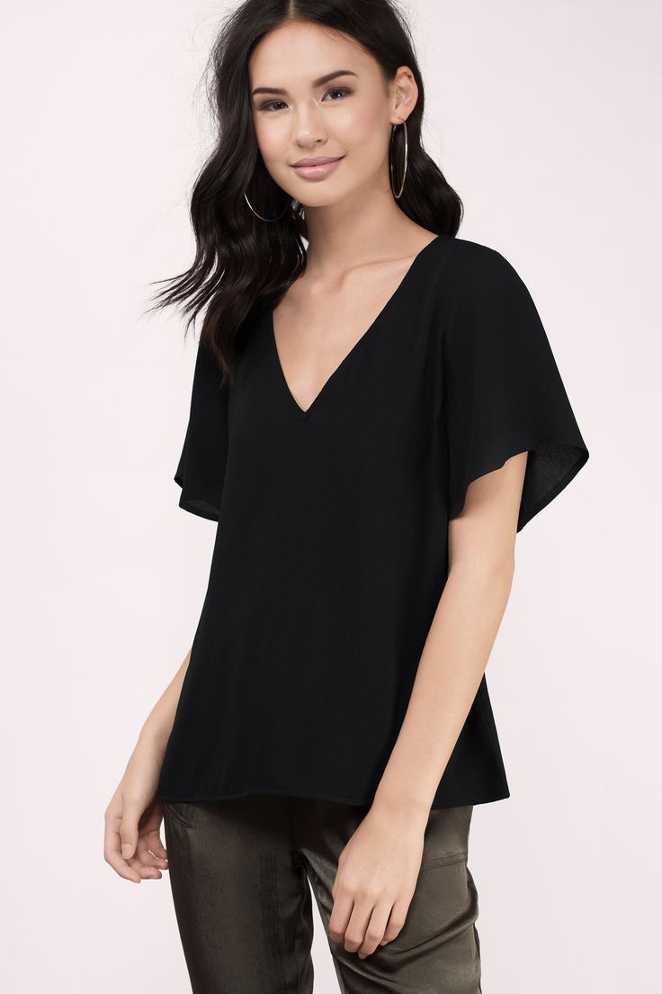 168a9828fb55 ... flutter sleeve short quarter v neck plunge plunging flowy loose fitting  work school going out night cheap inexpensive shop buy Basic outfit simple  easy ...