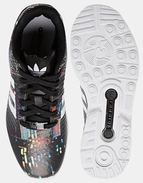 Adidas Originals ZX Flux Black Print Sneakers...
