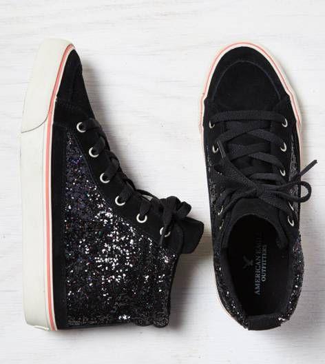 Black Glittery Hi-Top Sneaker...