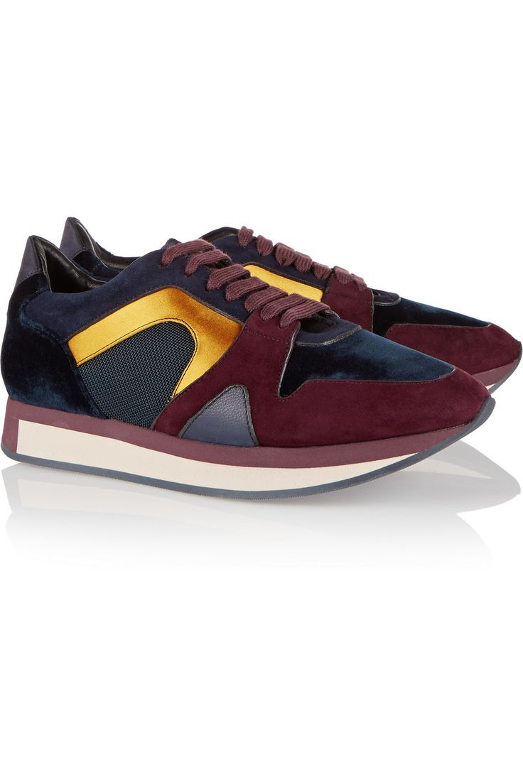 Burberry Shoes & Accessories Field suede, satin and mesh sneakers