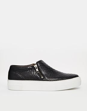 H by Hudson Black Leather Snake Effect Slip on Trainers...
