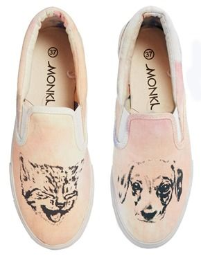 Monki Lilly Cat & Dog Slip On Sneakers...