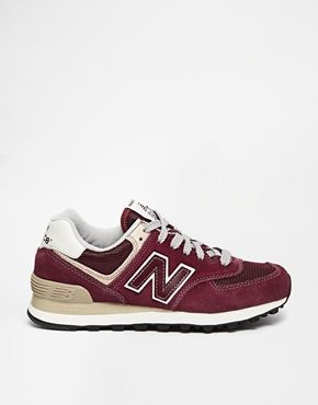 New Balance 574 Burgundy Suede/Mesh Sneakers