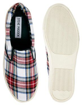 Steve Madden Ecentric Red Plaid Slip On Sneakers...