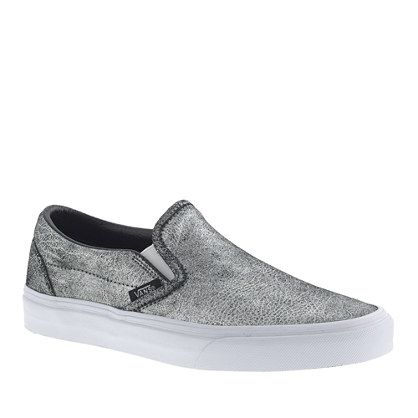 UNISEX VANS® CLASSIC SLIP-ON SNEAKERS IN METALLIC LEATHER...