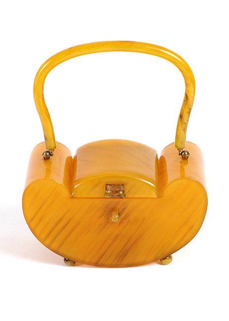 1940's Deco Butterscotch Bakelite Box Purse...