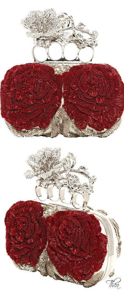 Alexander McQueen Beaded Roses Knucklebox Clutch...