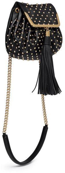 Alexander Mcqueen Heroine Stud Flap Leather Bucket Bag in Black - Lyst