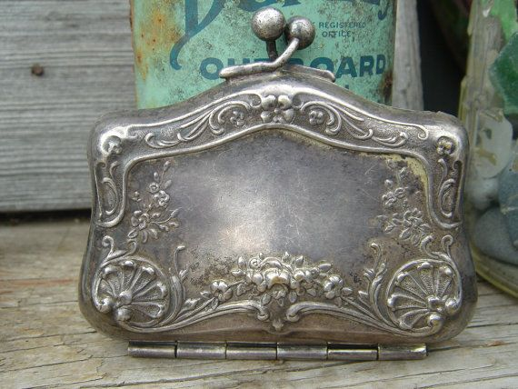 antique silver coin or calling card purse/case