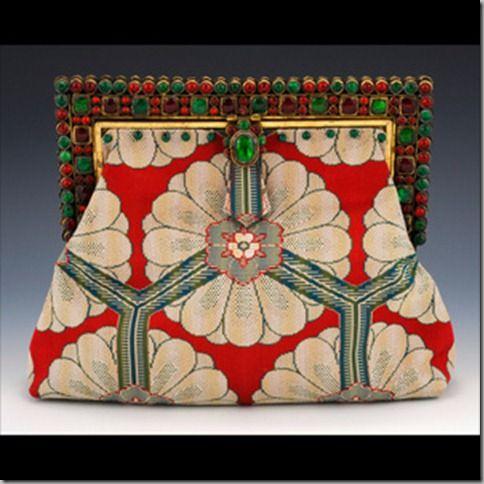 India Art Deco : Antique glass handset jewel frame, circa 1920. Antique woven si...