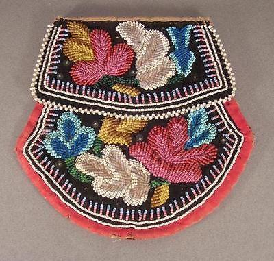 Iroquois beaded Flat Bag, Mohawk tradition, 19th century....