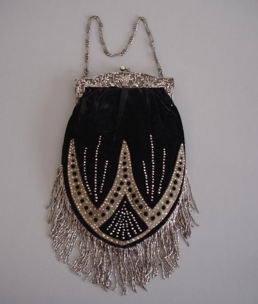 Victorian French black velvet purse, cut steel brads & beads
