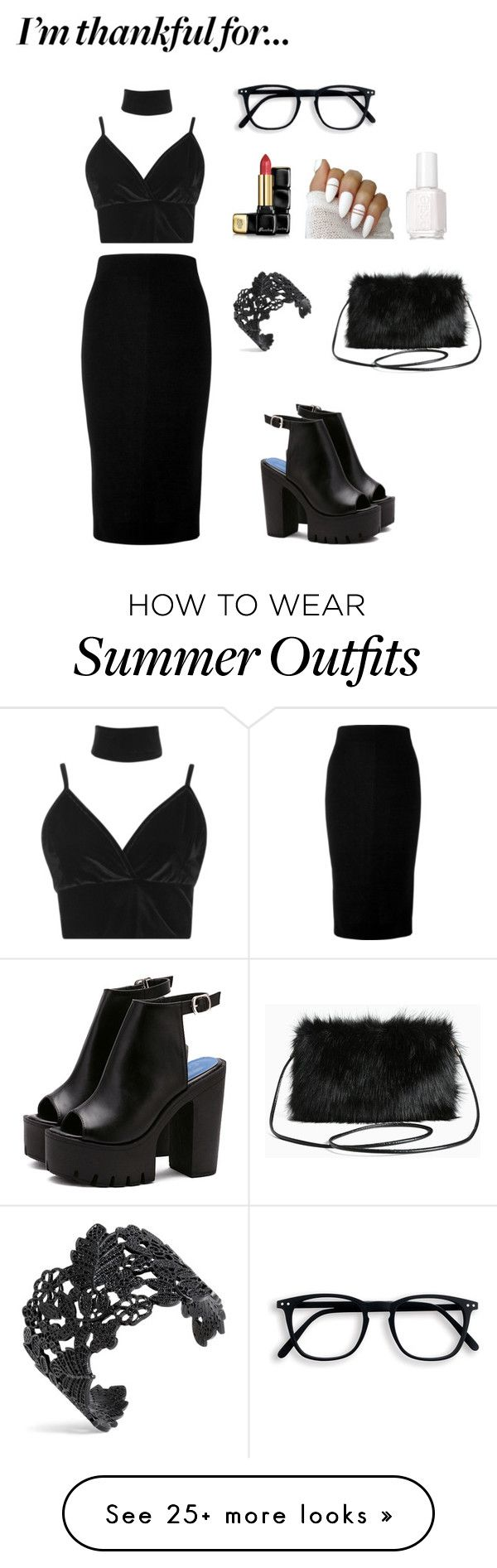 """Black Glam Outfit"" by inspiredstxles on Polyvore featuring Boohoo, Vi..."