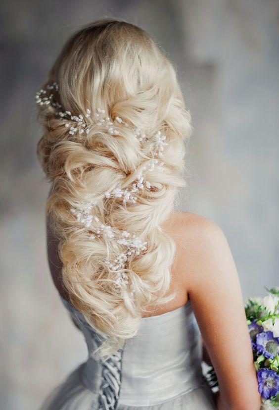 White Vine Hairpiece Twisted Braid Wedding Hairstyle - MODwedding
