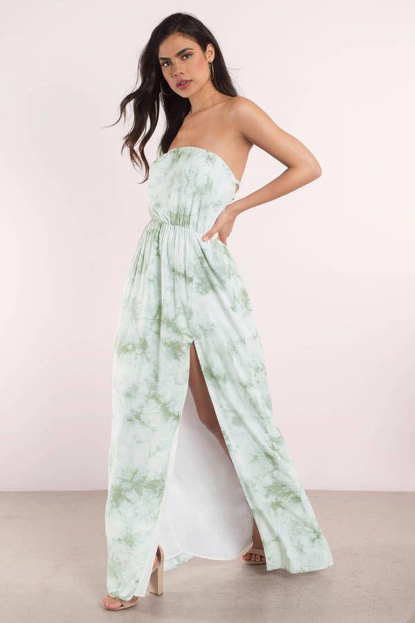 "64488695cd3 Search ""Mackenzie Mint Tie Dye Maxi Dress"" on Tobi.com! straplesss cinched  waist skater flowy long maxi length sage green thigh slit beach coverup  fancy ..."