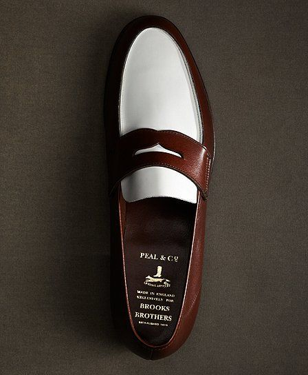 The Great Gatsby Collection White and Brown Spectator Loafer - Brooks Brothers...