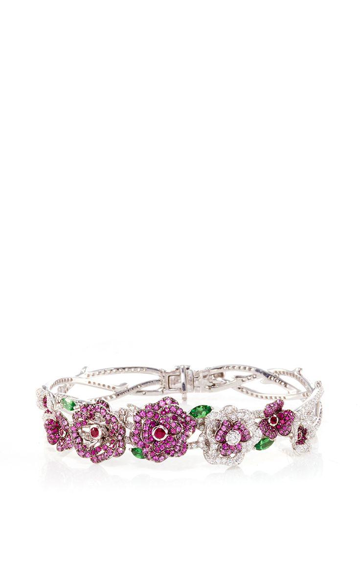 18 K White Gold Enchanted Garden Bracelet by VANLELES for Preorder on Moda Opera...