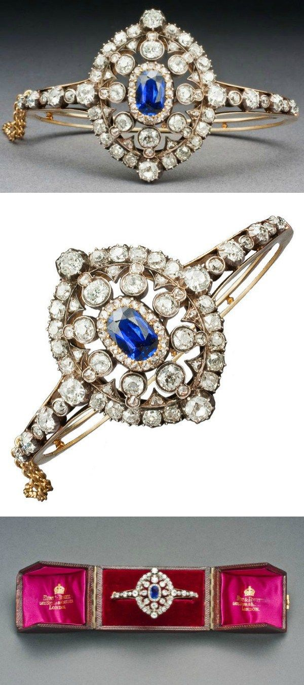 A Hunt & Roskell sapphire and diamond bracelet; Victorian, circa 1880. Old E...