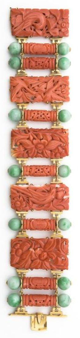 An Art Deco gold, carved coral and jade bracelet, by Grivotet and Beleau, Maison...
