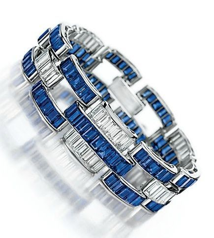 AN ART DECO SAPPHIRE AND DIAMOND BRACELET, BY PAUL FLATO by Anjel Eyes