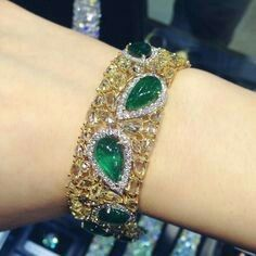 Anna Hu emerald and yellow bracelet
