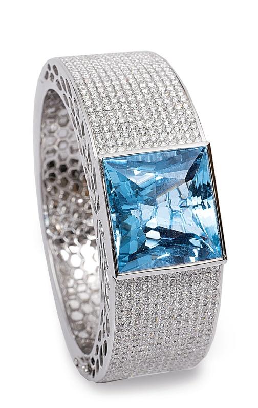 Aquamarine and White Diamond Bangle...