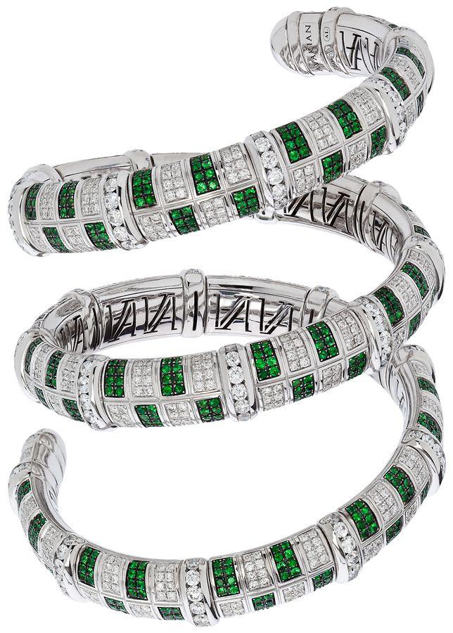 #Avakian flexible cuff #bracelet set with emeralds and diamonds...
