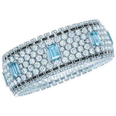 Bracelet with Aquamarines, Diamonds and Black Onyx available at Tiffany & Co. Ba...
