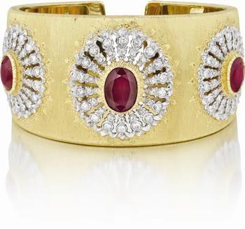 Buccellati Cuff Bracelet ... rubies, diamonds and gold!...