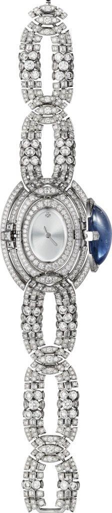 CARTIER. High Jewellery secret hour watch, quartz movement. Rhodium-finish 18K w...