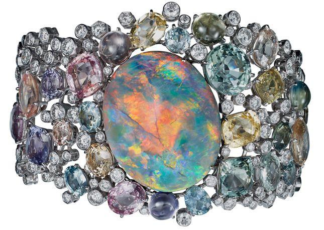 Cartier Opale Australe bracelet. Platinum & 57.95-carat opal, colored sapphires,...