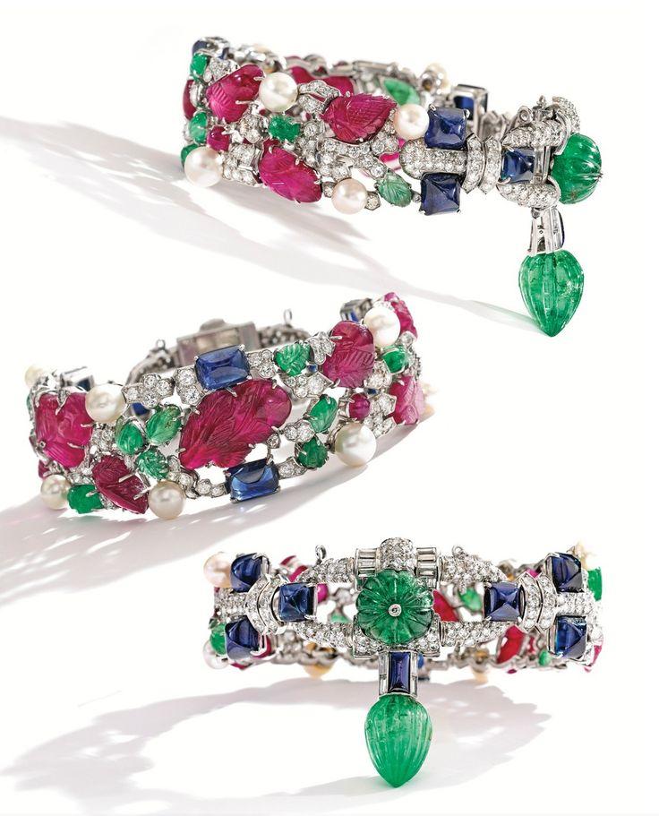Cartier's 'Tutti-Frutti' bracelet (circa 1930), made of platinum, carved r...