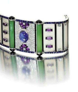 Chalcedony, sapphire, amethyst & diamond bracelet. Circa late 1920s...