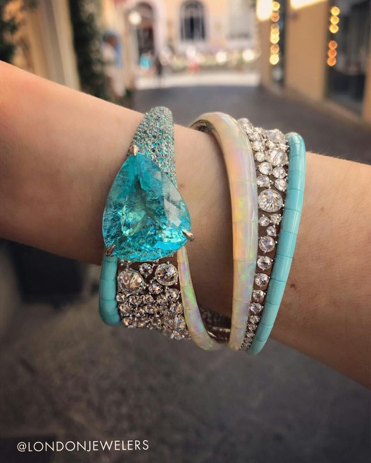 @chantecler_official parabia, diamond, opal and turquoise bracelet