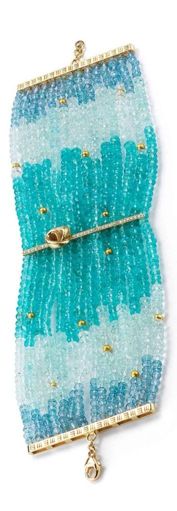 {Daily Jewel} Apatite, Green and Blue Aquamarine, Gold beads and Diamond Bracele...