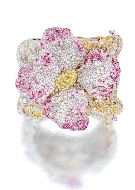 DIAMOND AND GEM-SET 'AZALEA' BANGLE, CINDY CHAO Modelled as an azalea, s...