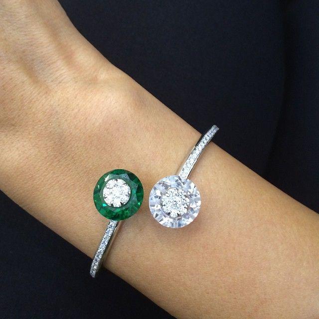 Diamond & Emerald Bangle by La Reina #Bjc #Jewelleryarabia2014...